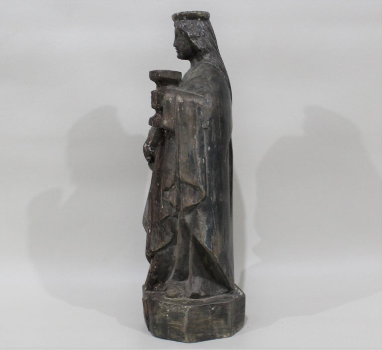 18th Century and Earlier 18th Century Carved Wood Santos of the Virgin Mary For Sale