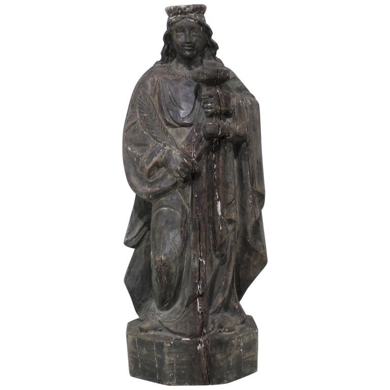 18th Century Carved Wood Santos of the Virgin Mary For Sale