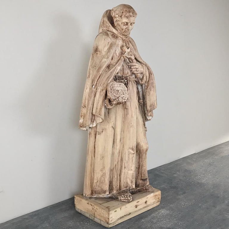 Renaissance Revival 18th Century Carved Wood Statue of Saint For Sale