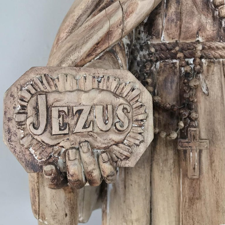 Dutch 18th Century Carved Wood Statue of Saint For Sale