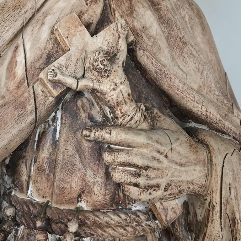 Hand-Carved 18th Century Carved Wood Statue of Saint For Sale