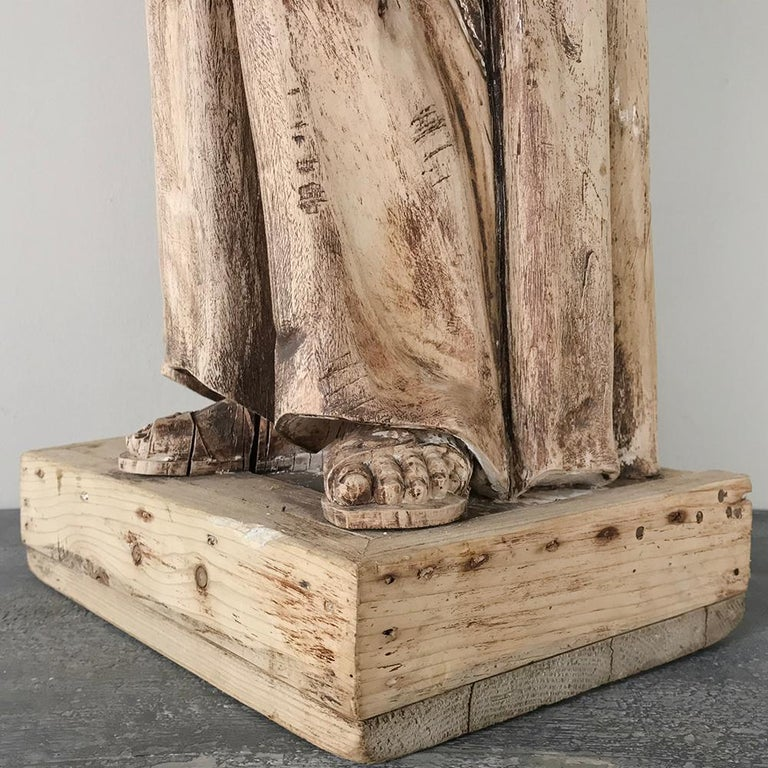 Fruitwood 18th Century Carved Wood Statue of Saint For Sale