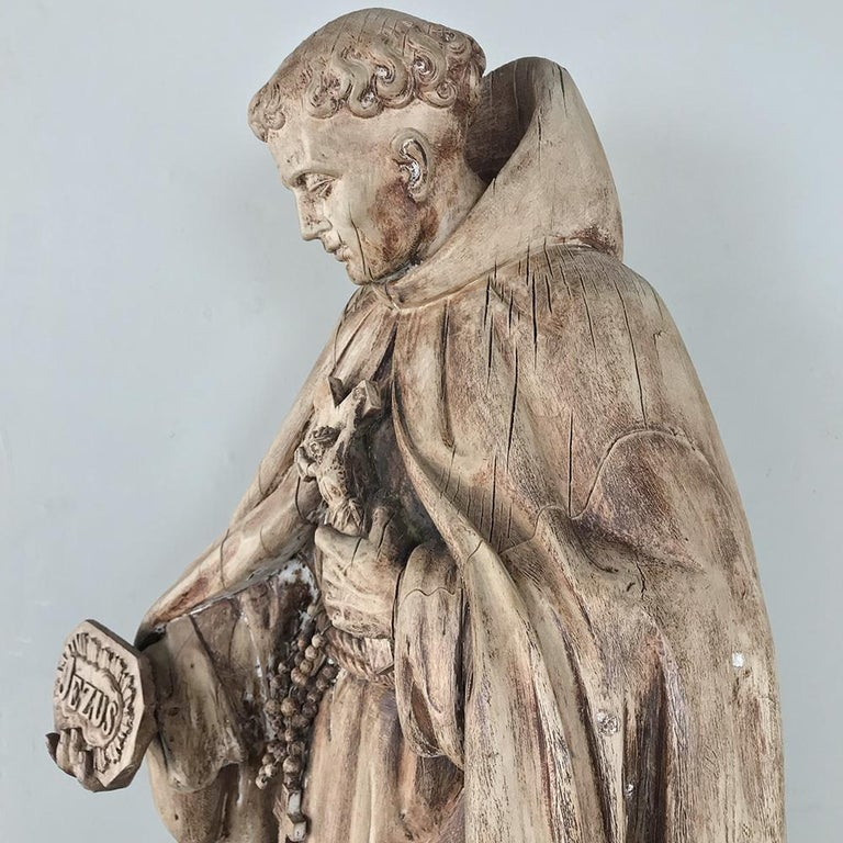 18th Century Carved Wood Statue of Saint For Sale 1