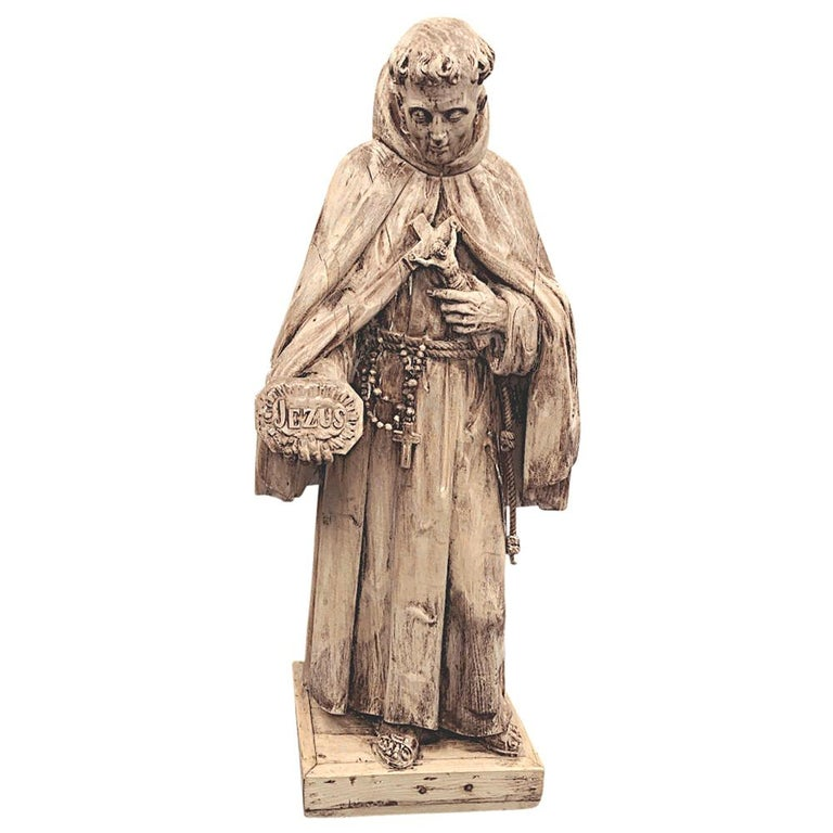 18th Century Carved Wood Statue of Saint For Sale