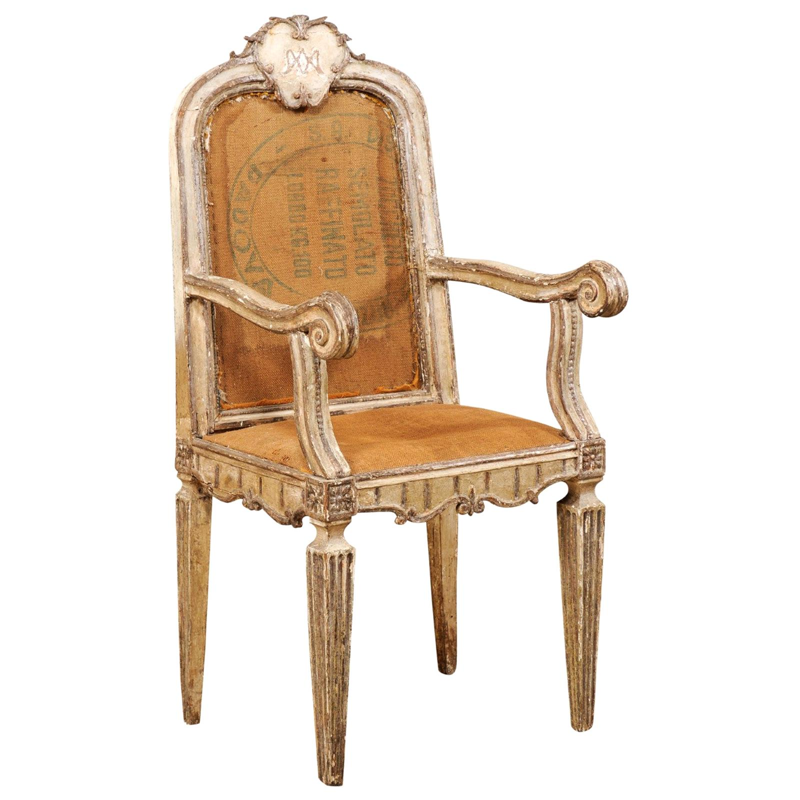 18th Century Carved-Wood & Upholstered Armchair from Italy