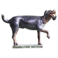 18th Century Carved Wooden Folk Art Sculpture Talbot, Sleuthhound Dog