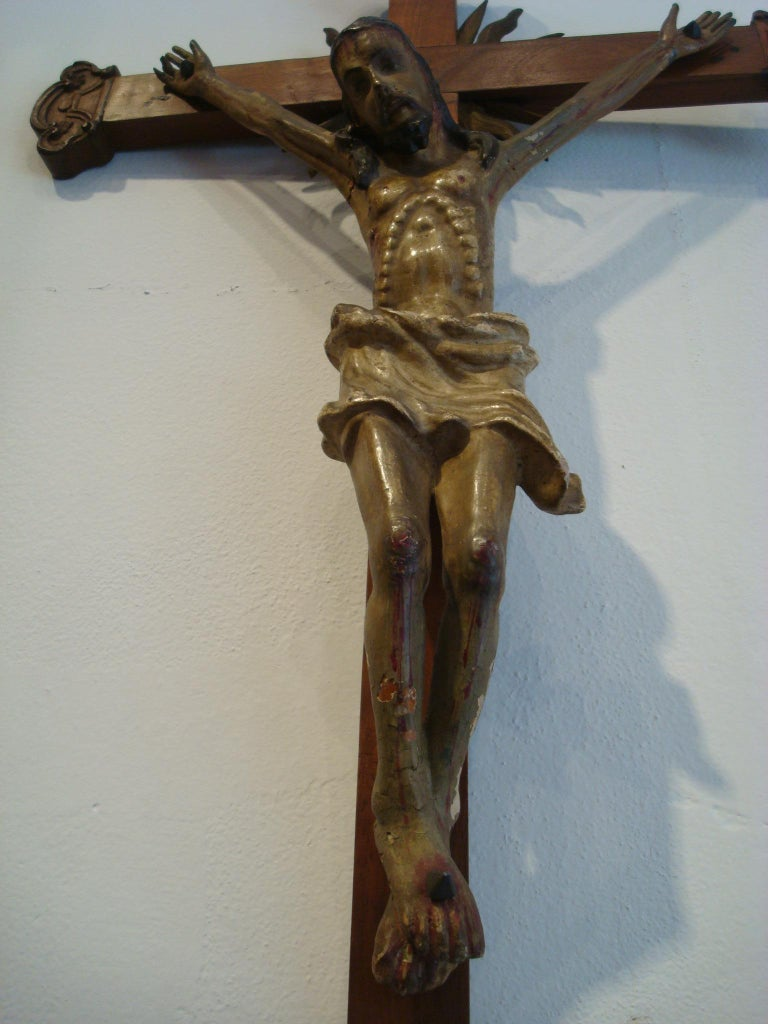 18th Century Carved Wooden Representing Christ on the Cross Folk Art For Sale 5