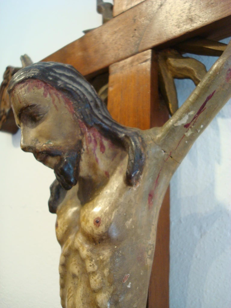 18th Century Carved Wooden Representing Christ on the Cross Folk Art For Sale 9