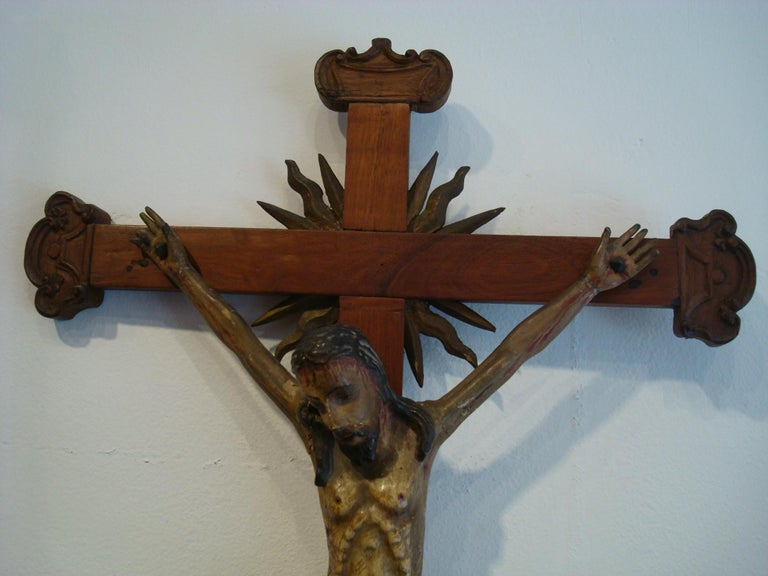 Latin American 1700s wooden crucifix. Carved face and body features. Beautiful patina. Jesus on the Cross Folk Art.