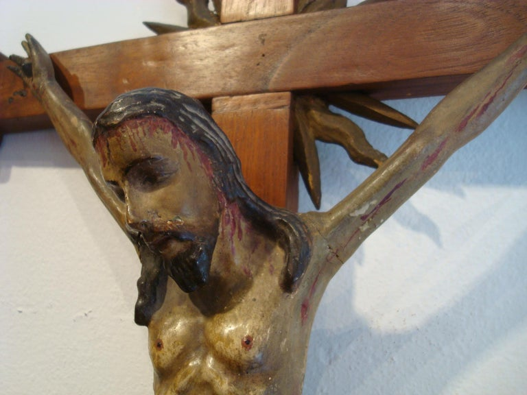 Hand-Carved 18th Century Carved Wooden Representing Christ on the Cross Folk Art For Sale