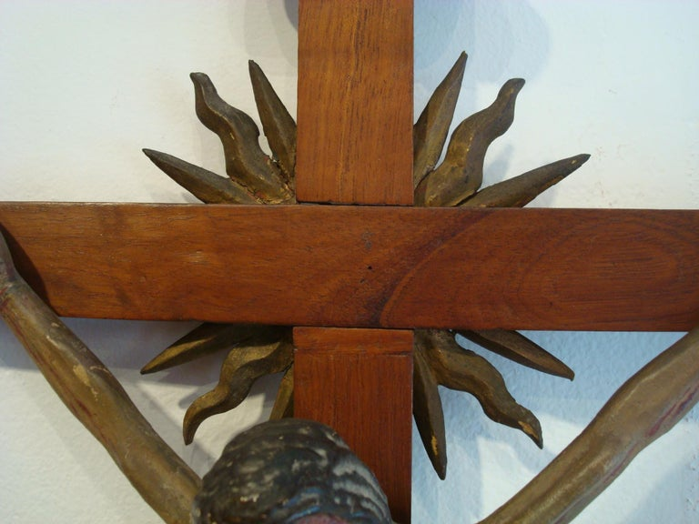 18th Century Carved Wooden Representing Christ on the Cross Folk Art For Sale 2