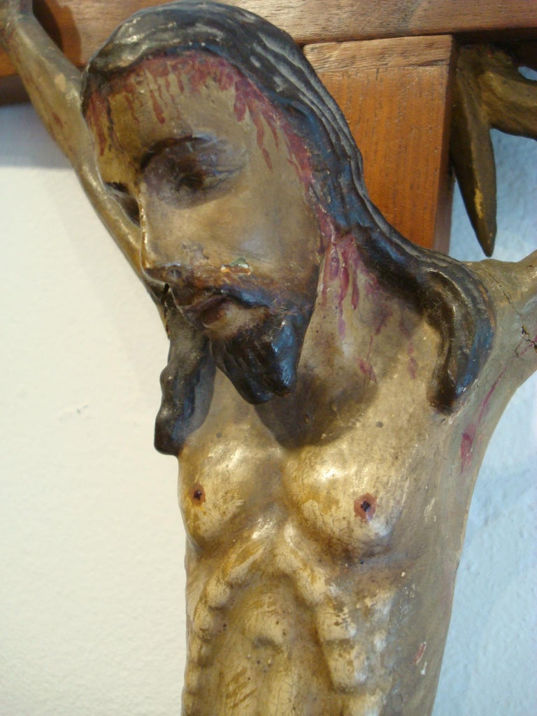 18th Century Carved Wooden Representing Christ on the Cross Folk Art For Sale 3