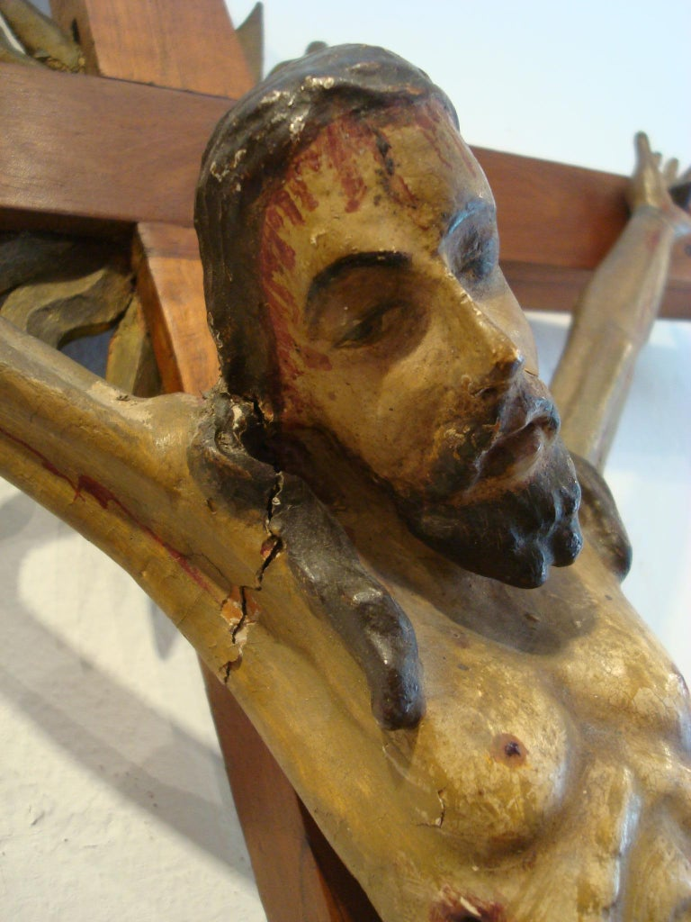 18th Century Carved Wooden Representing Christ on the Cross Folk Art For Sale 4