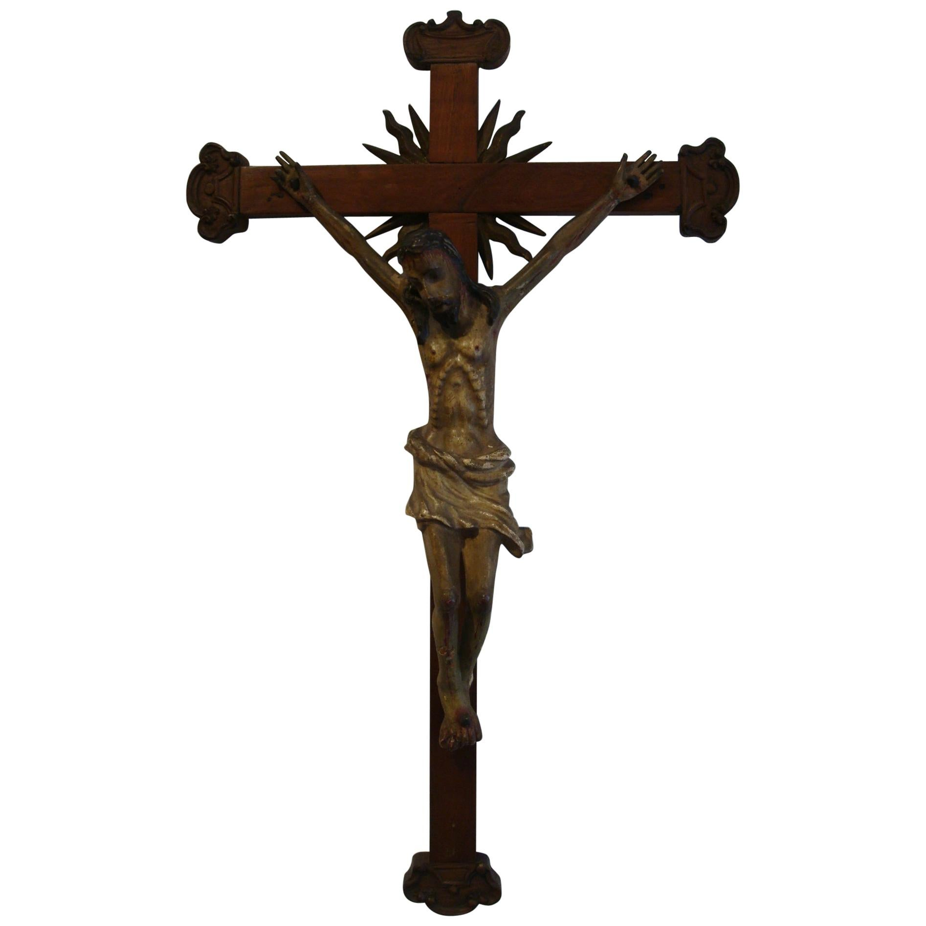 18th Century Carved Wooden Representing Christ on the Cross Folk Art