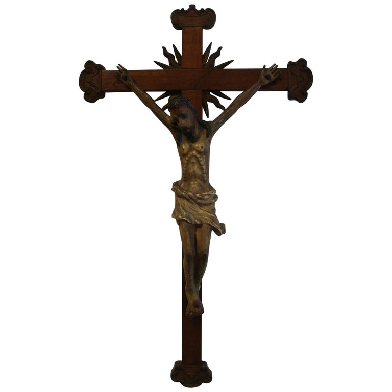 18th Century Carved Wooden Representing Christ on the Cross Folk Art For Sale