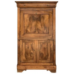 18th Century Catalan Drop-Front Oak Secretary Desk or Abattant, Spain