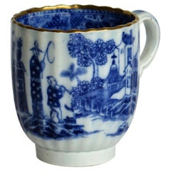 18th Century Caughley Coffee Cup Pearlware Gilded Chinoiserie Patn, circa 1785