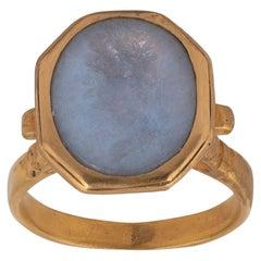 18th Century Chalcedony Intaglio Augustus Ring