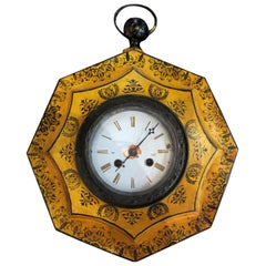 18th Century Charles X Style Yellow Tole Octagonal Wall Clock