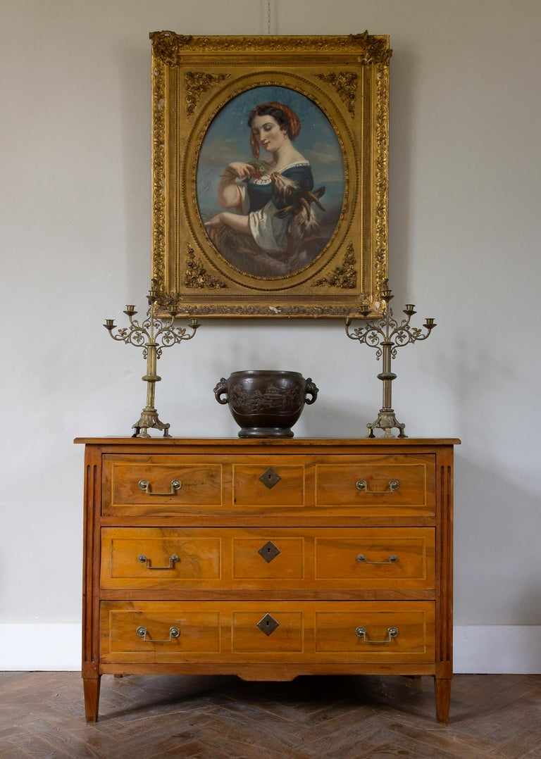 18th Century Cherrywood and Marquetry Commode Louis XVI Period For Sale 7