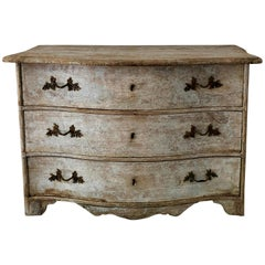 18th Century Chest of Drawers from Late Baroque Period in Richly Carved Curvaceo