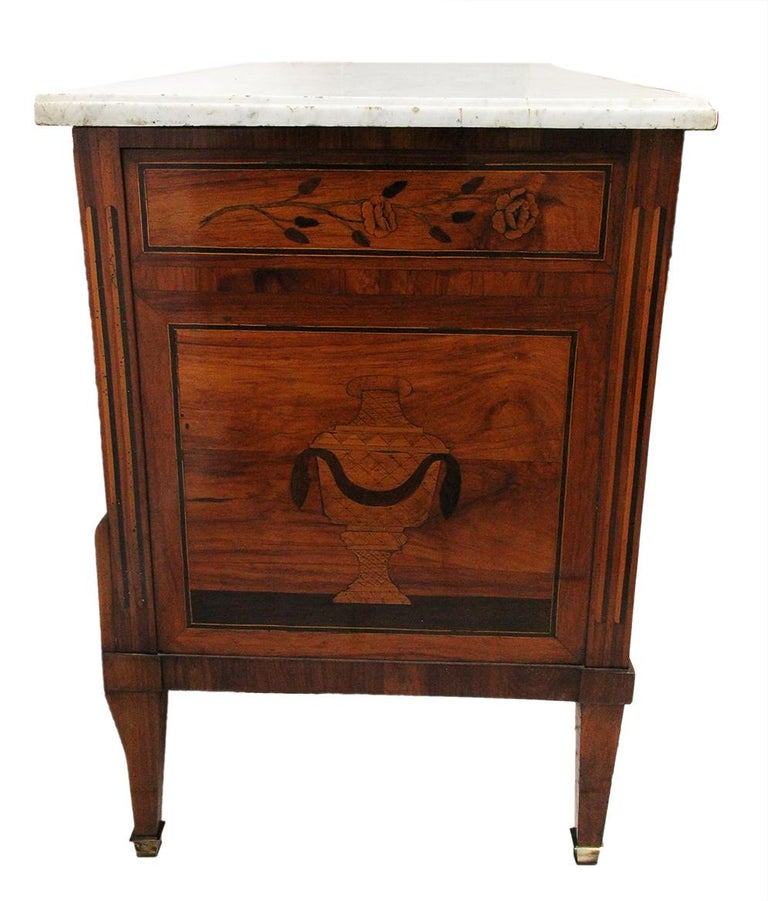 18th Century Chest of Drawers Stamp Caumont Musical Theme Marquetry & Marble Top For Sale 2