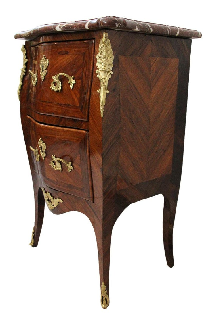 18th Century Chest of Drawers Stamped BOUDIN with Amaranth Veneer and Red Marble For Sale 3