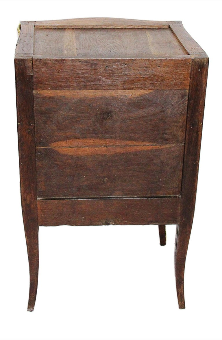 18th Century Chest of Drawers Stamped BOUDIN with Amaranth Veneer and Red Marble For Sale 5