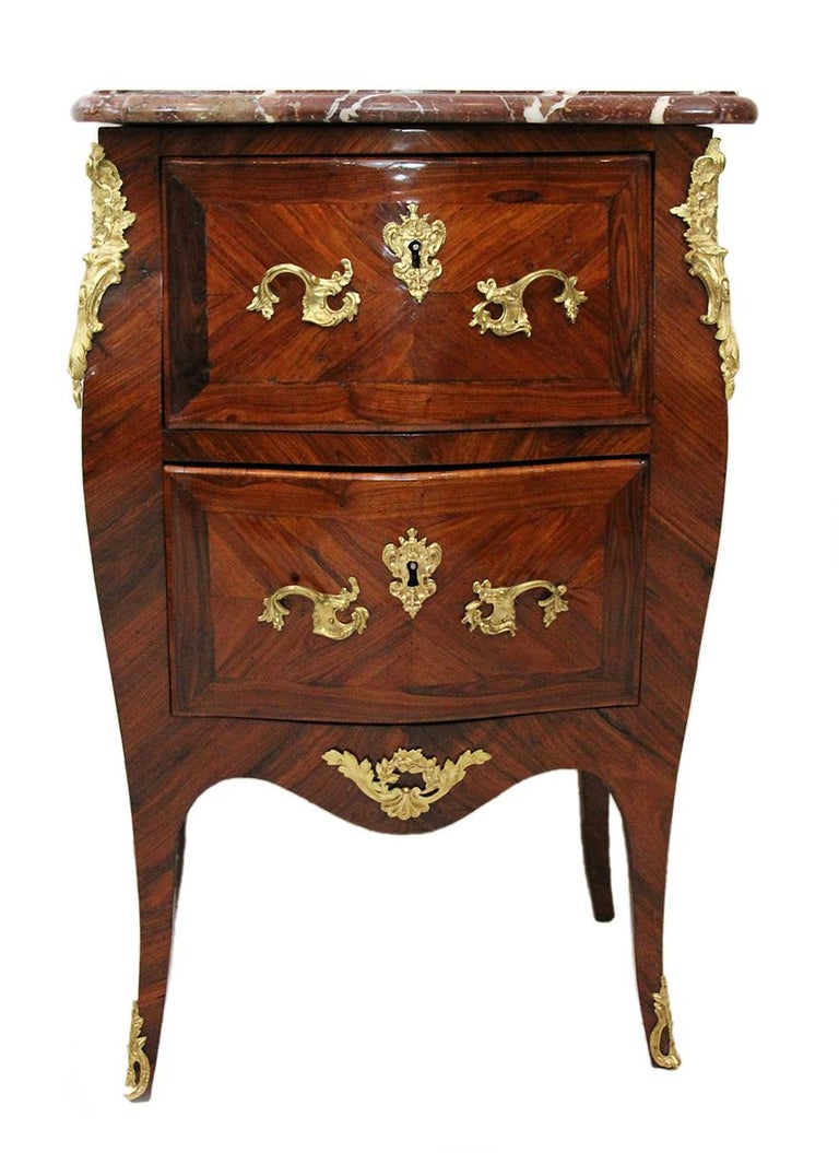 Louis XV 18th Century Chest of Drawers Stamped BOUDIN with Amaranth Veneer and Red Marble For Sale