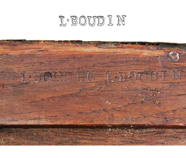 French 18th Century Chest of Drawers Stamped BOUDIN with Amaranth Veneer and Red Marble For Sale