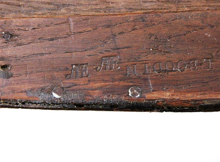 Marquetry 18th Century Chest of Drawers Stamped BOUDIN with Amaranth Veneer and Red Marble For Sale