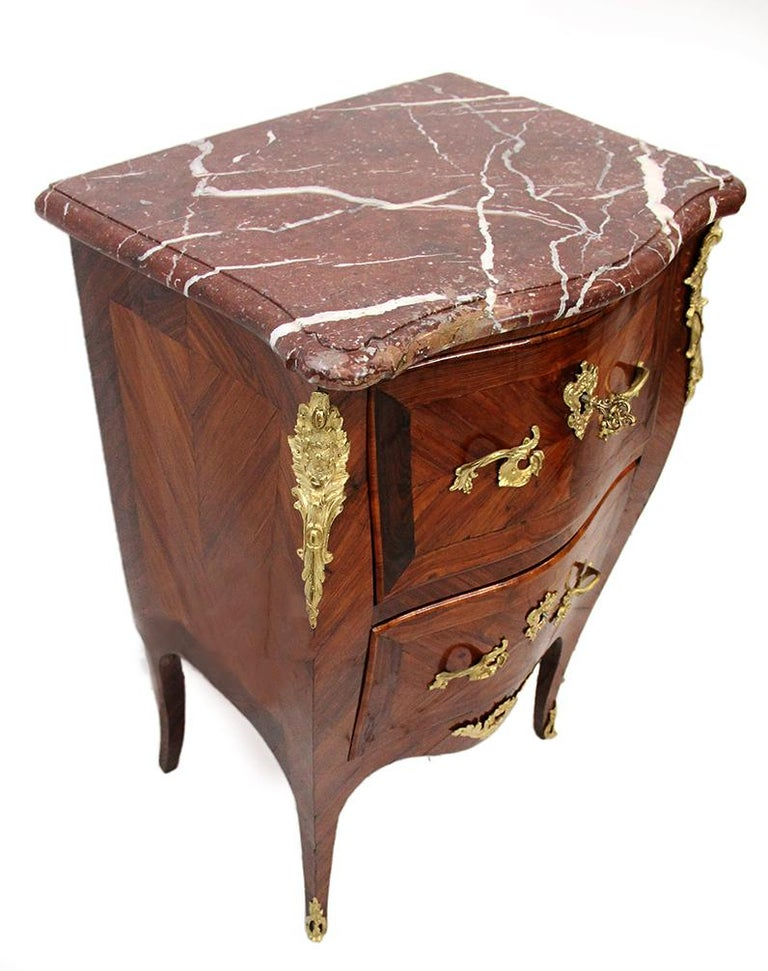 18th Century and Earlier 18th Century Chest of Drawers Stamped BOUDIN with Amaranth Veneer and Red Marble For Sale