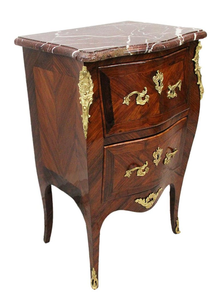 Griotte Marble 18th Century Chest of Drawers Stamped BOUDIN with Amaranth Veneer and Red Marble For Sale