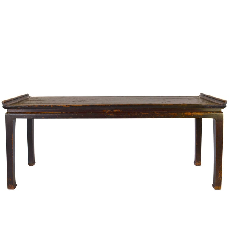 18th Century Chinese Black Lacquer Painting Table