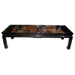 18th Century Chinese Black Lacquer Panel Custom Mounted Coffee Table, In Stock