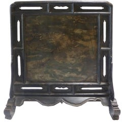 18th Century Chinese Black Lacquer Table Screen Inset with Stone