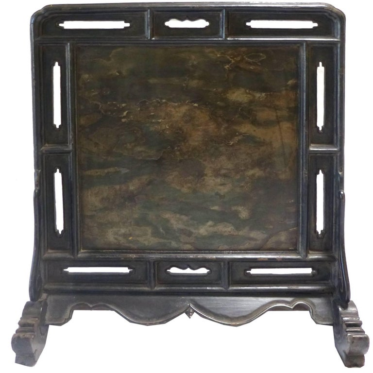 18th Century Chinese Black Lacquer Table Screen Inset With Stone For