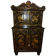 18th Century Chinese Black Lacquered and Gilded Wood Cabinet