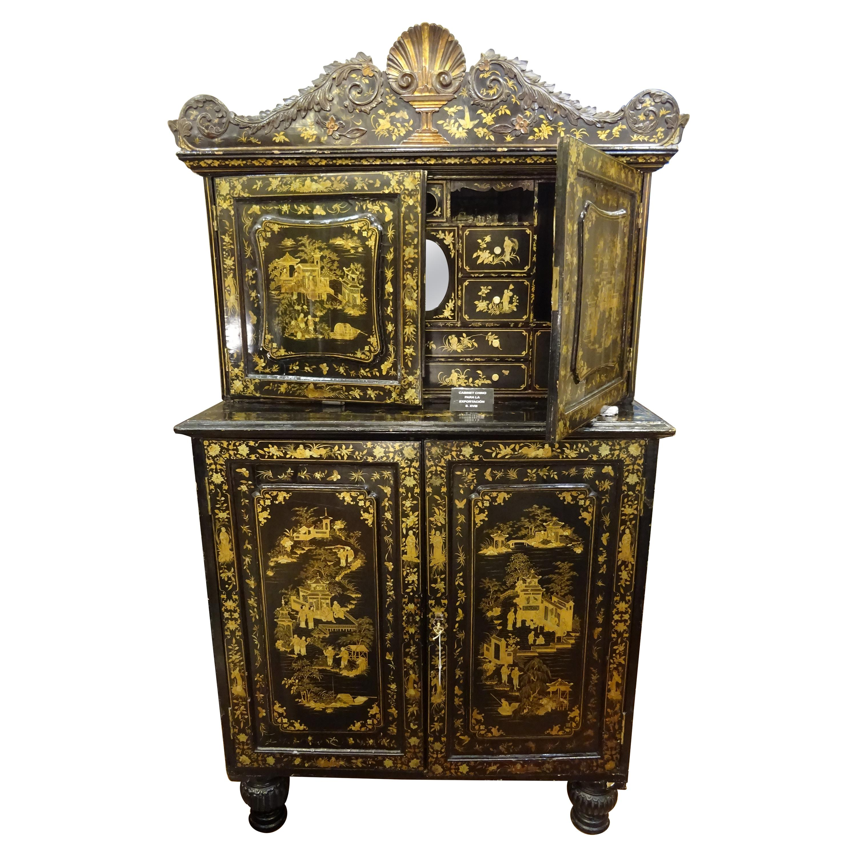 18th Chinese Black  Cabinet Lacquered and Gilded Wood Cabinet