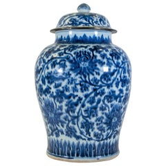 18th Century Chinese Blue and White Kangxi Period Porcelain Covered Vase