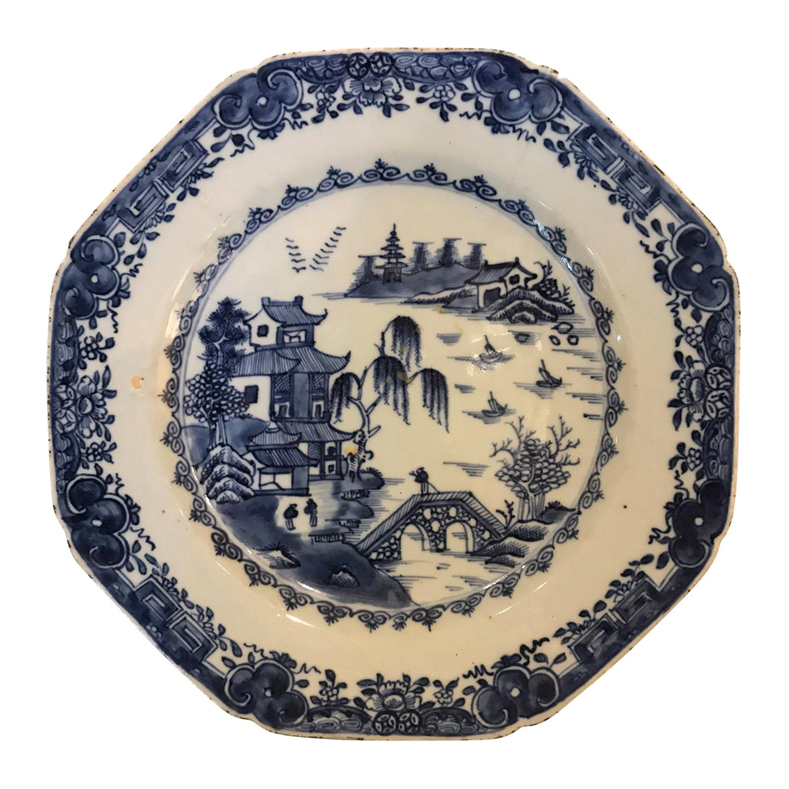 18th Century Chinese Blue and White Porcelain Octagonal Plate