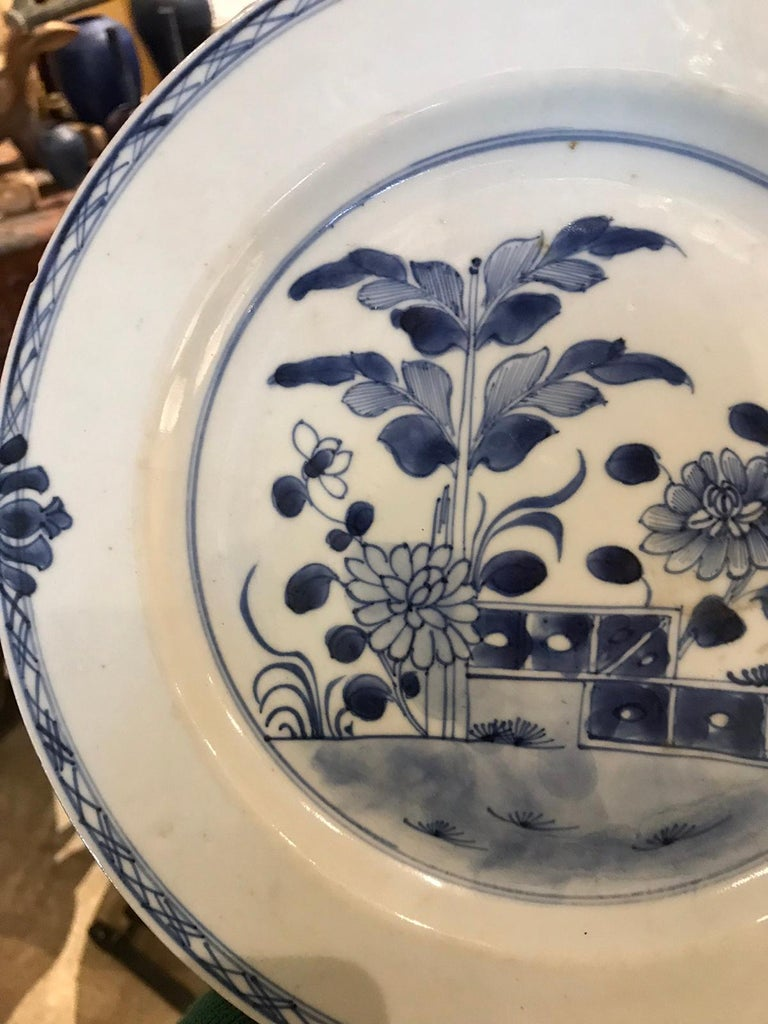 18th Century and Earlier 18th Century Chinese Blue and White Porcelain Plate For Sale