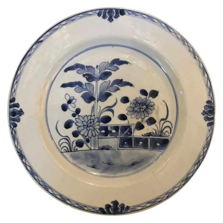 18th Century Chinese Blue and White Porcelain Plate For Sale