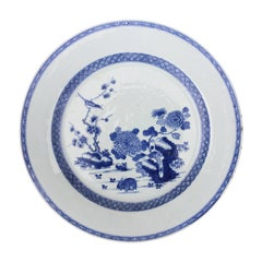 18th Century Chinese Blue and White Porcelain Plate with Rabbit