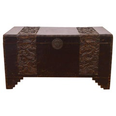 18th Century Chinese Camphor Wood Trunk with Carved Decoration