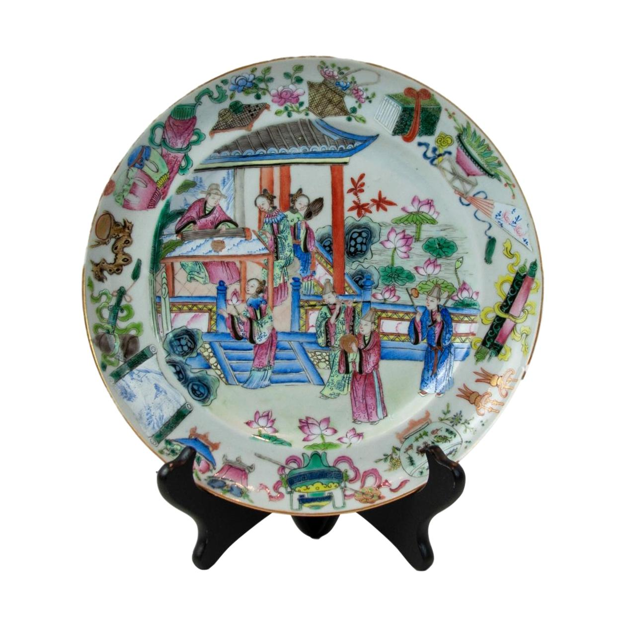 18th Century Chinese Canton Famille Rose Plate, circa 1780s