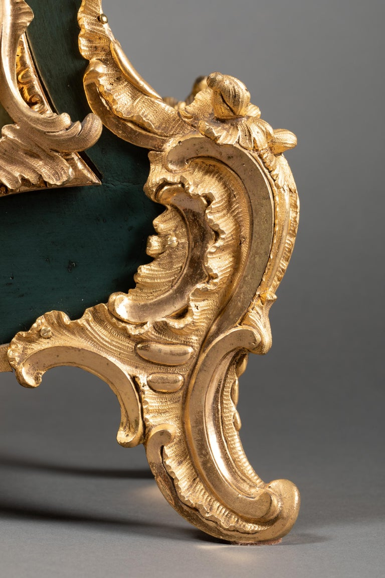 Bronze 18th Century, Chinese Cartel in Green Lacquer, Louis XV Period For Sale