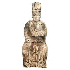 18th Century Chinese Carved and Painted Wood Figure of a Chinese Official