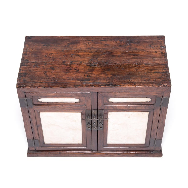 18th Century Chinese Chest with Marble Paneled Doors 6