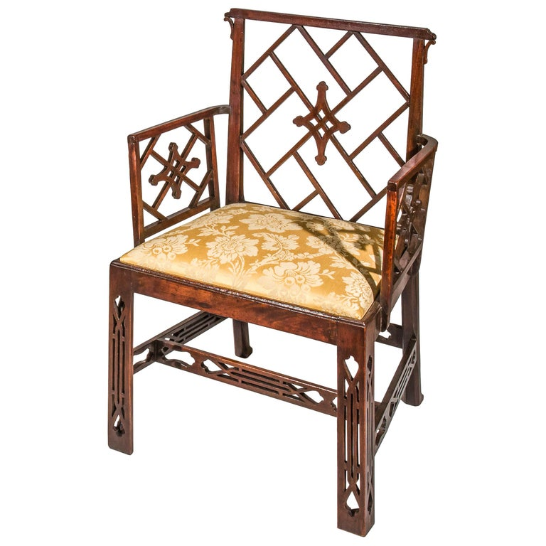 English 18th Century Chinese Chippendale Cockpen Armchair Desk Chair For Sale